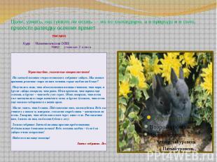 Цели: узнать, наступила ли осень — не по календарю, а в природе и в селе, провес