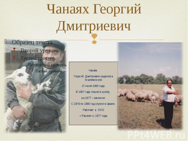 Чанаях Георгий Дмитриевич Чанаях Георгий Дмитриевич родился в Малоянисоле 27 июля 1960 года. В 1967 году пошел в школу, а в 1977 – закончил. С 1978 по 1980 год служил в армии. Работает в ООО « Рассвет» с 1977 года.