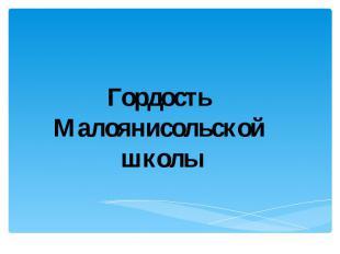 Гордость Малоянисольской школы