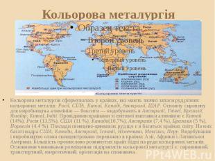 Кольорова металургія Кольорова металургія сформувалась у країнах, які мають знач