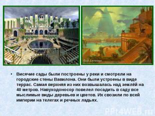Висячие сады были построены у реки и смотрели на городские стены Вавилона. Они б