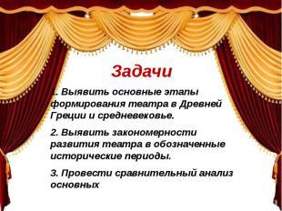 Задачи 1. Выявить основные этапы формирования театра в Древней Греции и средневе