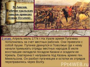 2 этап. Апрель-июль 1774 г.На Урале армия Пугачева пополнилась за счет местных р