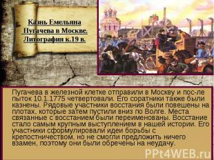 Пугачева в железной клетке отправили в Москву и пос-ле пыток 10.1.1775 четвертов