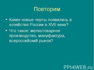 Какие новые черты появились в хозяйстве России в XVII веке? Какие новые черты по