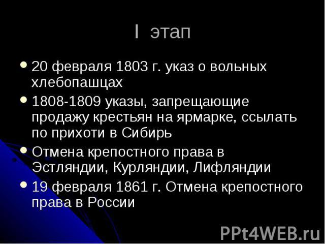 I этап 20 февраля 1803 г. указ о вольных хлебопашцах 1808-1809 указы, запрещающие продажу крестьян на ярмарке, ссылать по прихоти в Сибирь Отмена крепостного права в Эстляндии, Курляндии, Лифляндии 19 февраля 1861 г. Отмена крепостного права в России