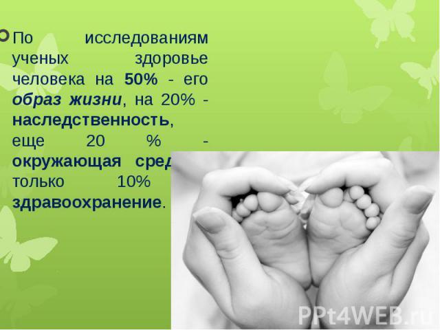 По исследованиям ученых здоровье человека на 50% - его образ жизни, на 20% - наследственность, еще 20 % - окружающая среда и только 10% - здравоохранение.По исследованиям ученых здоровье человека на 50% - его образ жизни, на 20% - наследственность, …
