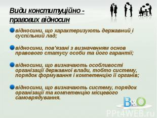Види конституційно - правових відносин відносини, що характеризують державний і