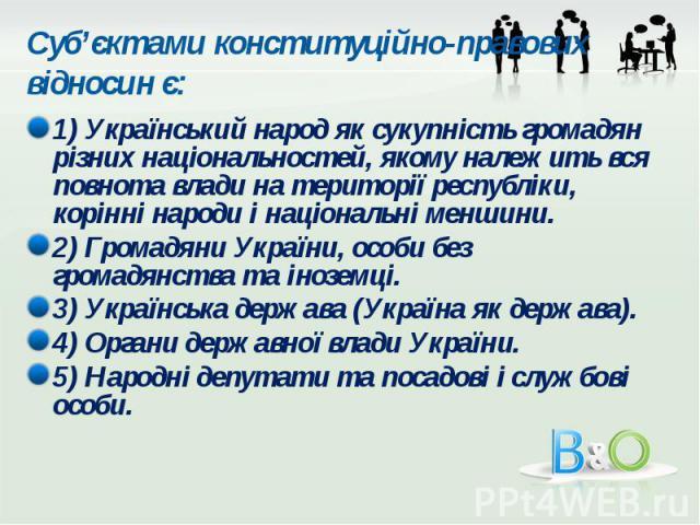 Суб'єктами конституційно-правових відносин є: 1) Український народ як сукупність громадян різних національностей, якому належить вся повнота влади на території республіки, корінні народи і національні меншини. 2) Громадяни України, особи без громадя…