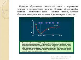Причина образования химической связи – стремление системы к минимизации энергии.
