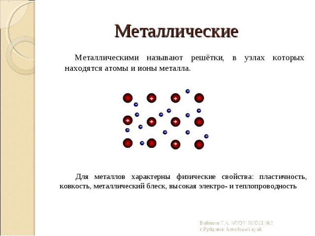 Металлическими называют решётки, в узлах которых находятся атомы и ионы металла. Металлическими называют решётки, в узлах которых находятся атомы и ионы металла.