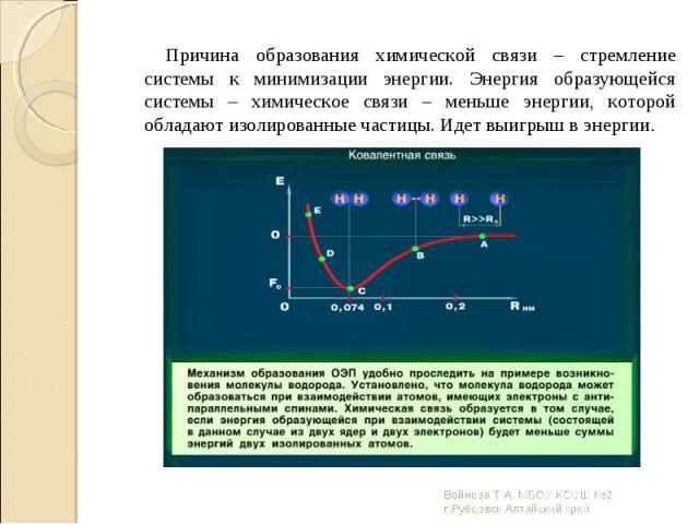 Причина образования химической связи – стремление системы к минимизации энергии. Энергия образующейся системы – химическое связи – меньше энергии, которой обладают изолированные частицы. Идет выигрыш в энергии. Причина образования химической связи –…