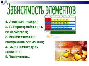 1. Атомные номера; 1. Атомные номера; 2. Распространённость по свойствам; 3. Кол