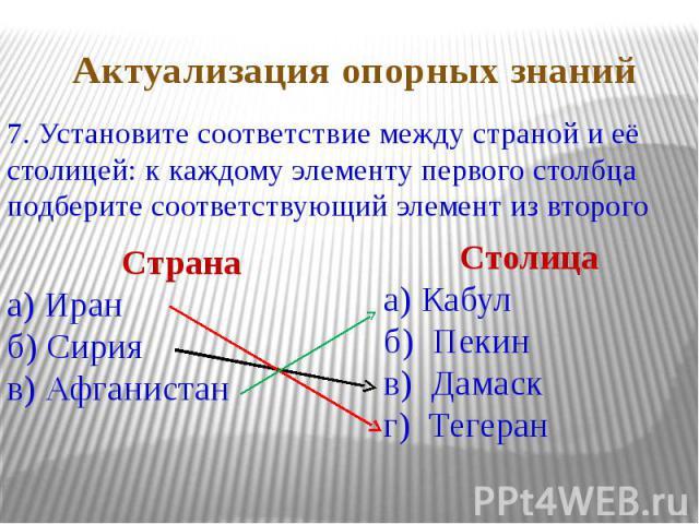 7. Установите соответствие между страной и её столицей: к каждому элементу первого столбца подберите соответствующий элемент из второго