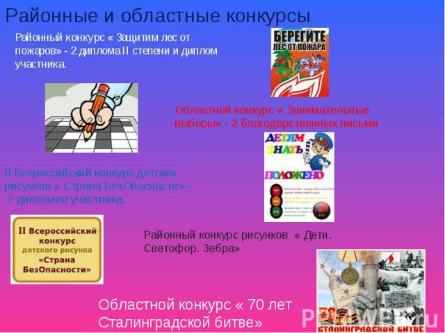 Районные и областные конкурсыРайонный конкурс « Защитим лес от пожаров» - 2 диплома II степени и диплом участника.
