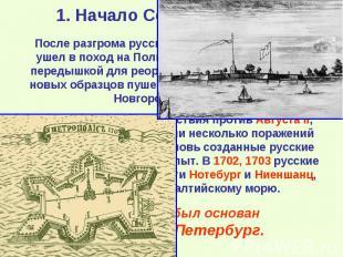 После разгрома русских войск под Нарвой Карл ушел в поход на Польшу. Петр воспол