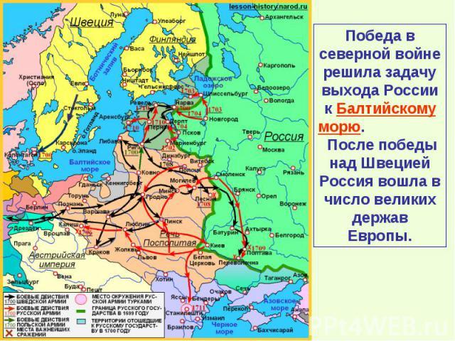 Победа в северной войне решила задачу выхода России к Балтийскому морю. После победы над Швецией Россия вошла в число великих держав Европы.