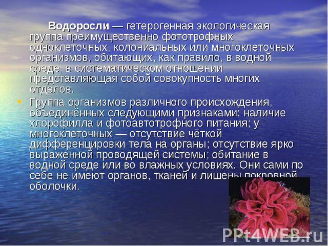 Водоросли— гетерогенная экологическая группа преимущественно фототрофных одноклеточных, колониальных или многоклеточных организмов, обитающих, как правило, в водной среде, в систематическом отношении представляющая собой совокупность многих от…