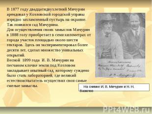 В 1877 году двадцатидвухлетний Мичурин арендовал у Козловской городской управы и