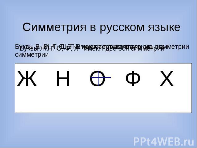 Симметрия в русском языке Буквы В, З, К, С, Э, Е имеют горизонтальную ось симметрии