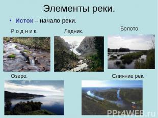 Элементы реки. Исток – начало реки.
