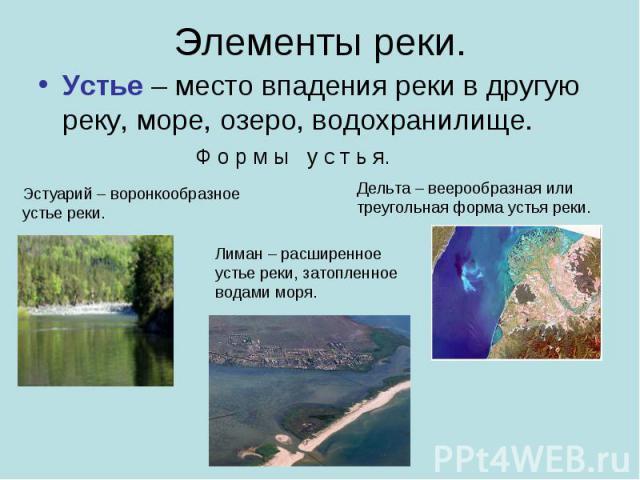 Элементы реки. Устье – место впадения реки в другую реку, море, озеро, водохранилище.Ф о р м ы у с т ь я.