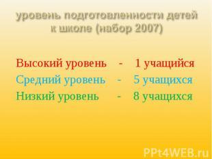 уровень подготовленности детей к школе (набор 2007) Высокий уровень - 1 учащийся