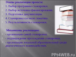 Этапы реализации проекта:1. Выбор программы стажировки.2. Выбор источника финанс