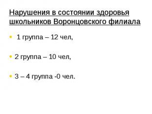 Нарушения в состоянии здоровья школьников Воронцовского филиала 1 группа – 12 че