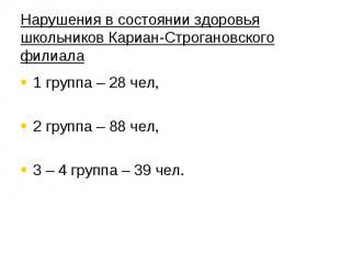 Нарушения в состоянии здоровья школьников Кариан-Строгановского филиала 1 группа