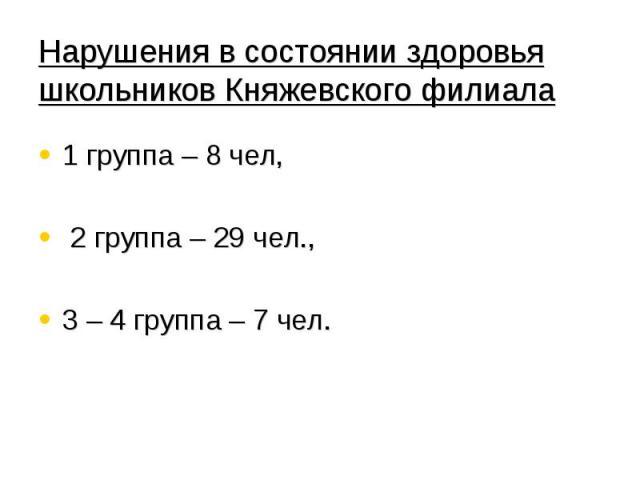 Нарушения в состоянии здоровья школьников Княжевского филиала 1 группа – 8 чел, 2 группа – 29 чел., 3 – 4 группа – 7 чел.
