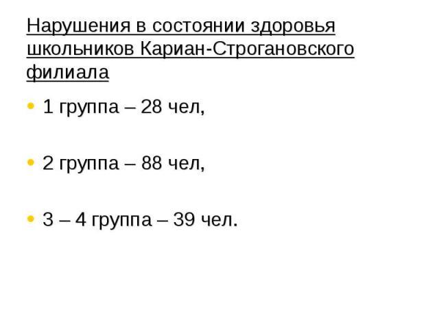 Нарушения в состоянии здоровья школьников Кариан-Строгановского филиала 1 группа – 28 чел, 2 группа – 88 чел, 3 – 4 группа – 39 чел.