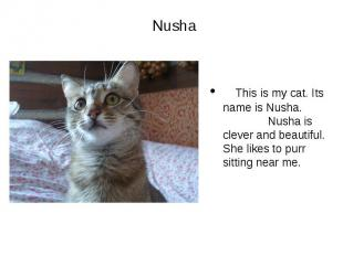 Nusha This is my cat. Its name is Nusha. Nusha is clever and beautiful. She like