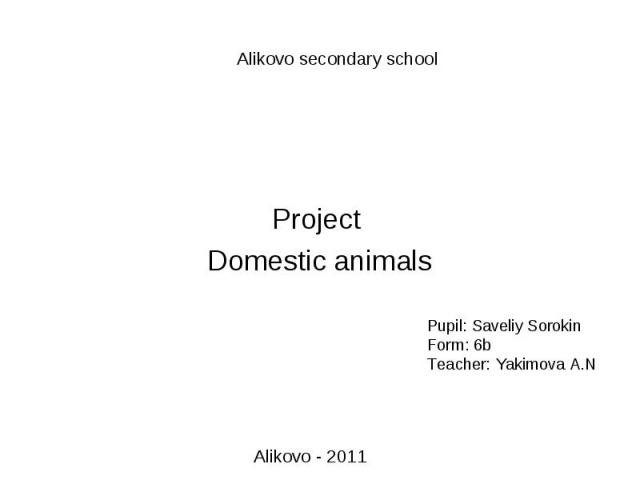 Alikovo secondary school Projeсt Domestic animalsPupil: Saveliy SorokinForm: 6bTeacher: Yakimova A.N Alikovo - 2011