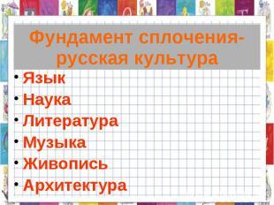 Фундамент сплочения-русская культура Язык НаукаЛитератураМузыкаЖивописьАрхитекту