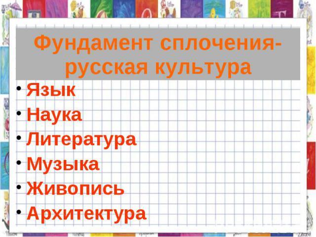 Фундамент сплочения-русская культура Язык НаукаЛитератураМузыкаЖивописьАрхитектура