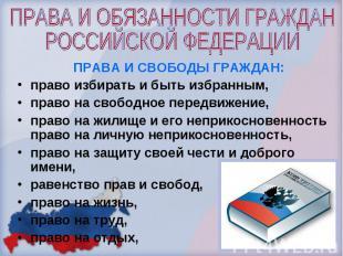 ПРАВА И ОБЯЗАННОСТИ ГРАЖДАН РОССИЙСКОЙ ФЕДЕРАЦИИПРАВА И СВОБОДЫ ГРАЖДАН:право из