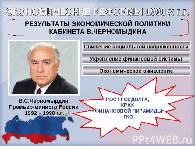 ЭКОНОМИЧЕСКИЕ РЕФОРМЫ 1990-х г.г.РЕЗУЛЬТАТЫ ЭКОНОМИЧЕСКОЙ ПОЛИТИКИКАБИНЕТА В.ЧЕРНОМЫДИНАВ.С.Черномырдин.Премьер-министр России 1992 – 1998 г.г.РОСТ ГОСДОЛГА, КРАХ «ФИНАНСОВОЙ ПИРАМИДЫ»ГКО