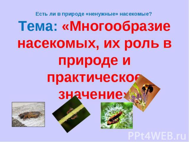 Есть ли в природе «ненужные» насекомые? Тема: «Многообразие насекомых, их роль в природе и практическое значение»