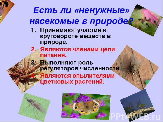 Есть ли «ненужные» насекомые в природе? Принимают участие в круговороте веществ в природе.Являются членами цепи питания.Выполняют роль регуляторов численности.Являются опылителями цветковых растений.