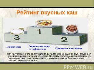 Рейтинг вкусных каш Для дегустации было приготовлено 13 видов каш из разных круп