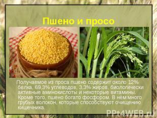 Пшено и просо Получаемое из проса пшено содержит около 12% белка, 69,3% углеводо