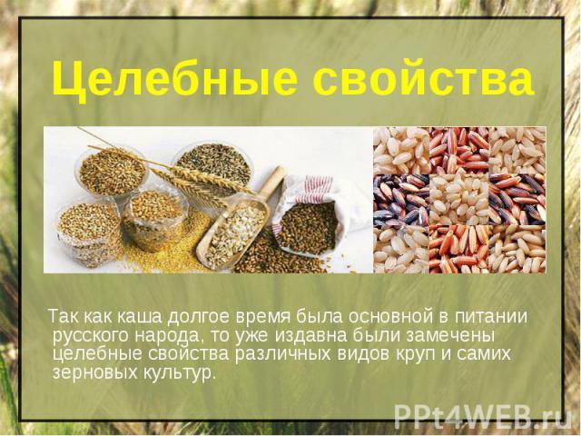 Целебные свойства Так как каша долгое время была основной в питании русского народа, то уже издавна были замечены целебные свойства различных видов круп и самих зерновых культур.