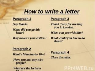 How to write a letter Paragraph 1 Say thanks.When did you get his letter? Why ha