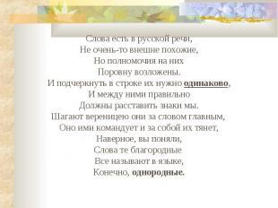 Слова есть в русской речи,Не очень-то внешне похожие,Но полномочия на нихПоровну