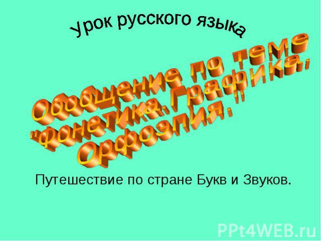 Урок русского языка Обобщение по теме