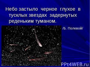 Небо застыло черное глухое в тусклых звездах задернутых реденьким туманом. /Б. П
