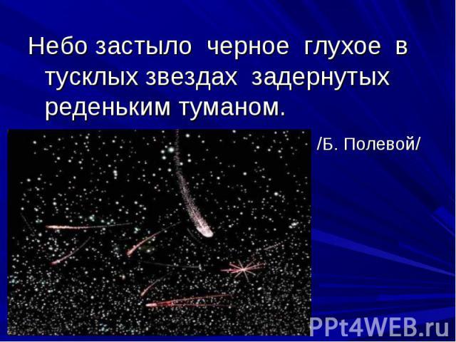 Небо застыло черное глухое в тусклых звездах задернутых реденьким туманом. /Б. Полевой/