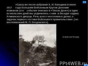 «Сразу же после избрания А. И. Каледина в июне 1917 года Большим Войсковым Круго