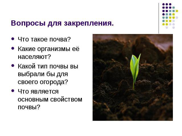 Вопросы для закрепления. Что такое почва?Какие организмы её населяют?Какой тип почвы вы выбрали бы для своего огорода?Что является основным свойством почвы?
